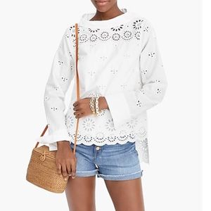 J.CREW EYELET FUNNEL-NECK BLOUSE 💖IN STORES💖